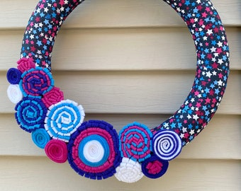 4th of July Wreath - Patriotic Wreath - Red,White, & Blue Wreath - July 4th Wreath - American Wreath - Independence Day Wreath - Star Wreath