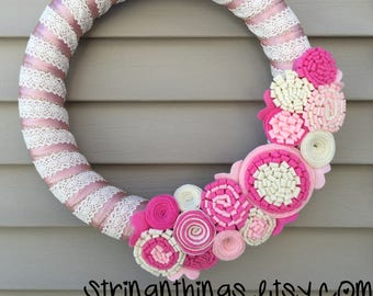 READY to SHIP - Valentines Day Wreath - Valentine Wreath - Lace Wreath - Crochet Wreath -Pink Wreath -Felt Flower Wreath -Baby Shower Wreath