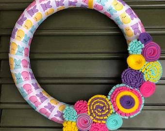 Peep Wreath - Easter Wreath - Spring Wreath - Peep decor - Felt Flower Wreath - Mothers Day Wreath - Felt Flowers - Easter Decor - Peeps