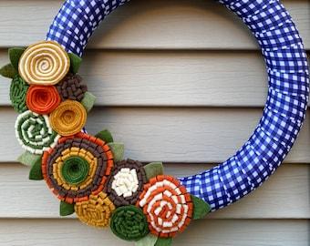 Fall Wreath, Blue Plaid Wreath, Autumn Wreath, Thanksgiving Wreath, Ribbon Wreath - Felt Flower Wreath - Blue Buffalo Ribbon - Felt Flowers