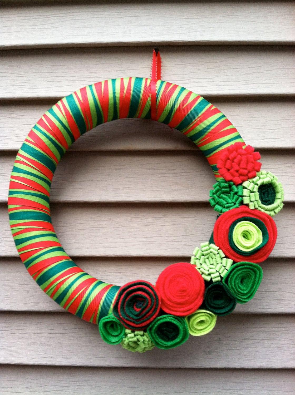 Modern Christmas Wreath Modern Wreath Felt Flower Wreath ...