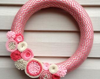 Valentine's Day Wreath - Valentine Wreath - Salmon & Silver Chevron Wreath - Chevron Wreath - Felt Flower Wreath - Pink Valentine Wreath