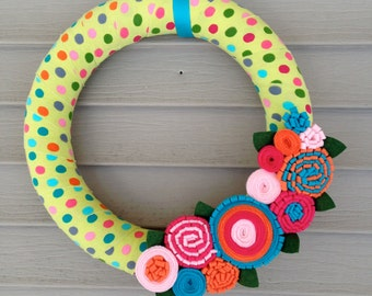 Spring Wreath - Mother's Day Wreath - Easter Wreath - Felt Flower Wreath - Ribbon Wreath - Felt Flower Wreath - Spring Decor - Polka Dot