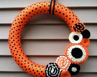 Halloween Wreath - Fall Wreath - Black & Orange Polka Dot Ribbon Decorated w/ Felt Flowers - Polka Dot Wreath  - Fall Felt Wreath