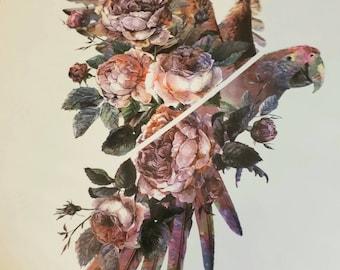 GORGEOUS FLOWERED BIRD temporary tattoo  (new)
