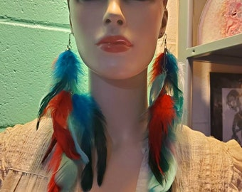 beautiful turquoise, red and white FEATHERED earrings
