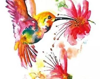 HUMMINGBIRD #3 temporary tattoo  (new)