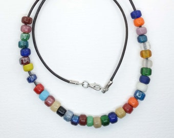 colorful glass pony bead necklace