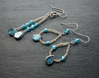 blue and silver dangle earring quad set