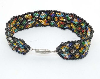 Stain glass seed bead woven bracelet