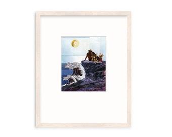 "Framed Wall Art - Fine Art - Original - Collage - Dog Art - ""Pacific Dog Day"""