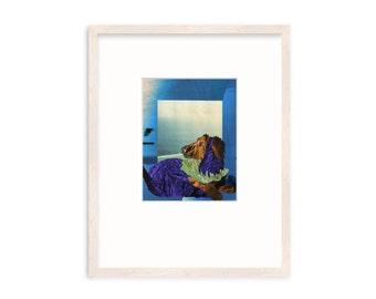 """Framed Original Art -Longhaired Dachshund - Collage - """"Seaside Dachshund"""""""