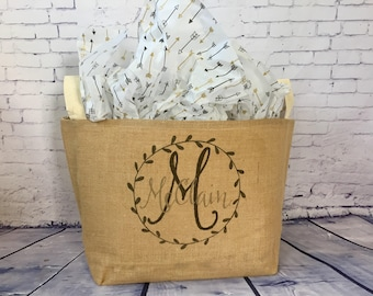 monogram burlap storage container burlap bin reusable gift basket personalized wedding gift bridal shower gift wedding card basket