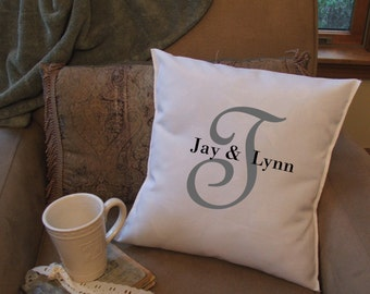 personalized initial pillow cover