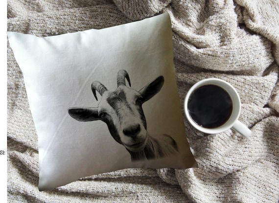 Funny Goat Decorative Throw Pillow Etsy Mesmerizing Clear Plastic Throw Pillow Covers