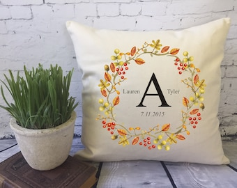 personalized fall wreath decorative throw pillow cover/acorn/autumn decor/halloween decor