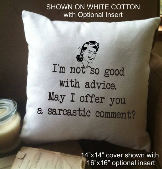 Funny Pillow Decorative Throw Pillow Cover Sarcastic Gift Etsy Custom Clear Plastic Throw Pillow Covers
