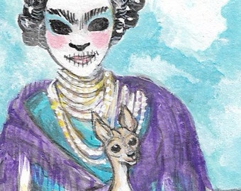 Frida and Friend  Original Painting ACEO Art Card