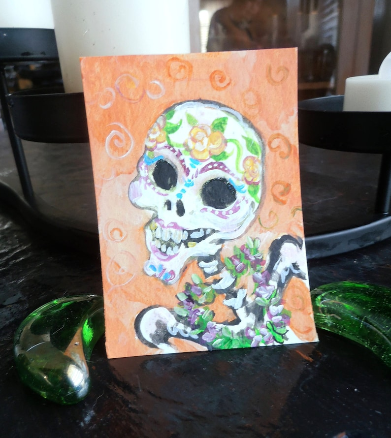 Original Painting  ACEO Art card Sugar Skull with LeI