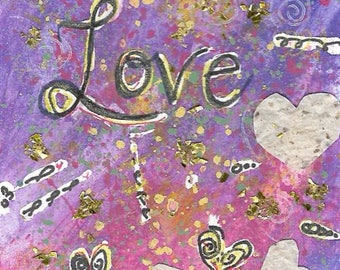 LOVE Valentine Art   Original Painting SFA Collage mailable gift