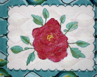 Wallhanging-Art-Red Rose-Hand Painted and Beaded