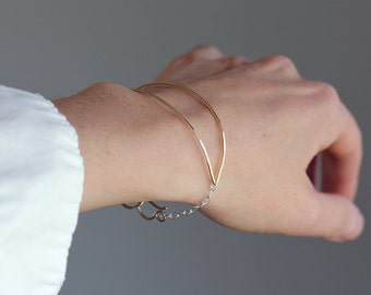 Ellipse Demi Cuff Bracelet, Open Eye Shape Made From Hammered Wire With Chain and Handmade Clasp, Minimalist, Geometric, Modern, Boho