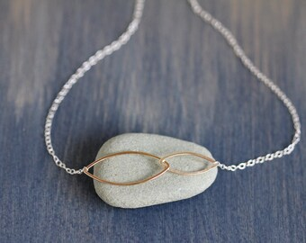 Kina Necklace - Simple Linked Ellipse Necklace, Asymmetrical, Geometric Design for Everyday Wear, Handmade Hammered Wire Shapes on Chain