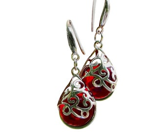 Recycled Vintage 1940s Red Beer Bottle Sterling Silver Flower Leverback Earrings