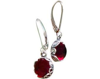 Gemstone Earrings Simple Earrings Gift for Her Handmade Earrings Ruby 925 Sterling Silver Wheel Earrings Moonstone Earrings
