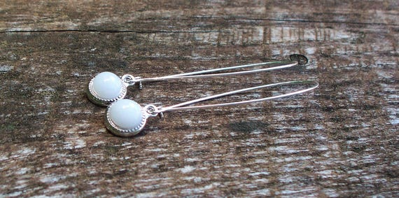 70f999c39ce2 Recycled Reclaimed Vintage White Milk Glass Cold Cream Jar Long Drop Color  Dot Earrings