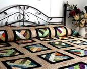 "Strawberry Fields Forever Batik Bed Quilt 108"" x 108"" in red, blue, gold, purple, black, beige"