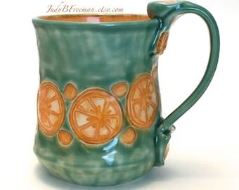 Ceramic Mug Stoneware Orange Slices on Jade Celadon Handmade Whimsical Wheel Thrown Made to Order MG0067