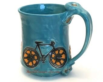 Ceramic Stoneware Orange Slice Bicycle Mug Handmade Orangesicle Turquoise Blue Made to Order MG0066
