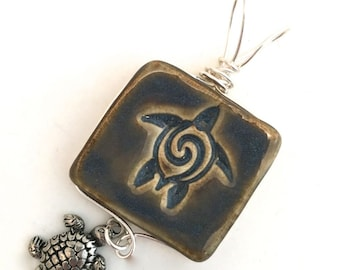 Pendant Stoneware Ceramic Wire Wrapped Turtle with Charm Great Stocking Stuffer PNT0005
