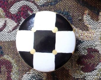 "Set of Two 1 1/2"" Cabinet Knobs Whimsical Black & White Checks or Your Choice"
