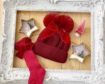 Darling Christmas Red VELVET BOW BABY Pom Pom Hat Beanie