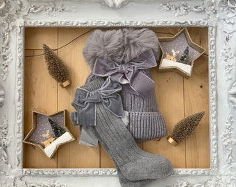 Darling Gray VELVET BOW BABY Socks