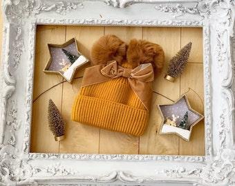 Darling Mustard VELVET BOW BABY Fur Pom Pom Hat Beanie