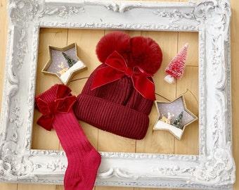 Darling Christmas Red VELVET BOW BABY Socks