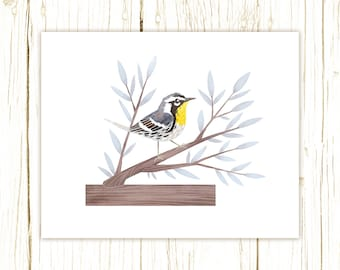 Yellow-Throated Warbler Print -- bird art -- colorful bird art 52 birds stephanie fizer coleman illustration