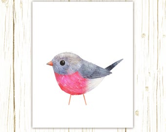 Rose Robin Print -- bird art -- colorful bird art by stephanie fizer coleman illustration