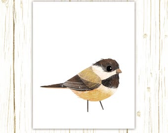 Chickadee Print -- bird art -- colorful bird art by stephanie fizer coleman illustration