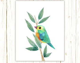 Orange-Breasted Bunting Print -- bird art -- colorful bird art by stephanie fizer coleman illustration