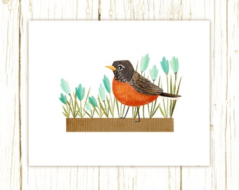 Robin Print -- bird art -- bird art 52 birds stephanie fizer coleman illustration American robin