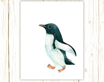 Gentoo Penguin Print -- bird art -- colorful bird art by stephanie fizer coleman illustration