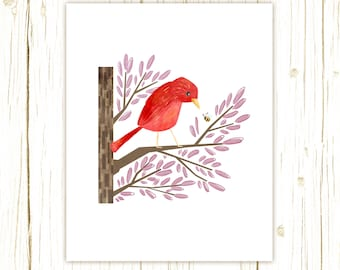 Summer Tanager Print -- bird art -- bird art 52 birds stephanie fizer coleman illustration pink red