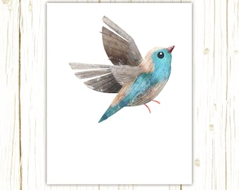 Blue Waxbill Print -- bird art -- colorful bird art by stephanie fizer coleman illustration