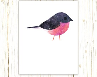 Pink Robin Print -- bird art -- colorful bird art by stephanie fizer coleman illustration