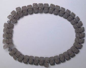 Art Deco Silvertone Choker Necklace with extension