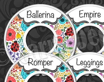 DotDotSmile Rack Dividers - Styles Dividers & Size Dividers Available - Fashion Consultant, Colorful Floral, Ladybug Dot Smile DDS
